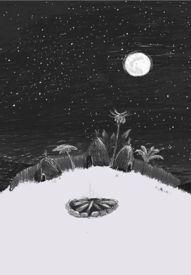 Akouba - Village at Night Drafts-Sketch