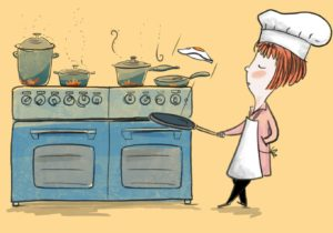 Girl Cooking - Color